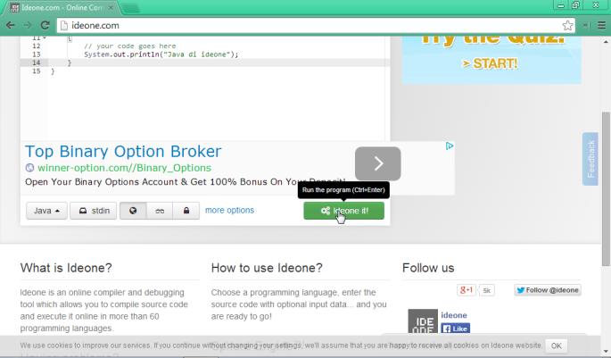 Compile Dan Run Code Online Di Ideone Mari Berbagi