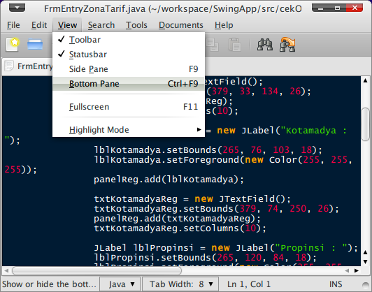 Screenshot-FrmEntryZonaTarif.java (~-workspace-SwingApp-src-cekOngkir) - gedit
