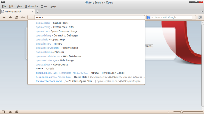 Screenshot-History Search - Opera
